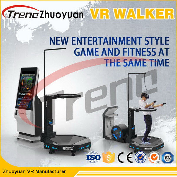 Black Amusement Park Virtual Reality Treadmill With Free Shooting Games